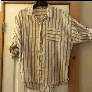 Ladues striped button up size large